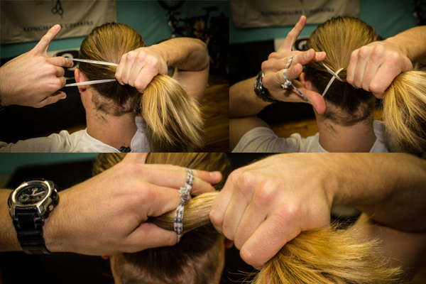 How to tie mens long hair