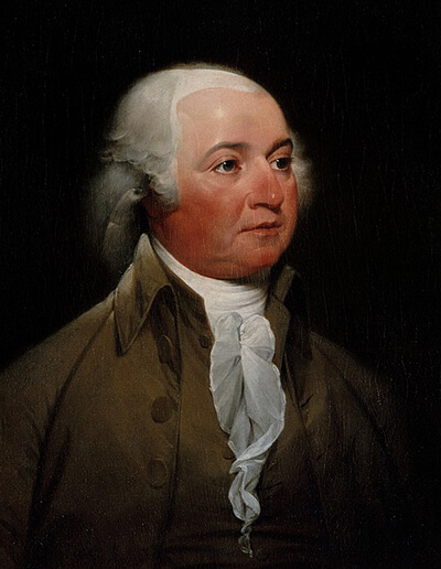 John Adams ,The Second President, with long hair.