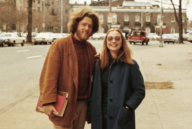Bill Clinton, the 42nd President, with long hair.