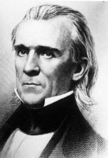 James Polk, the 11th President, with long hair.