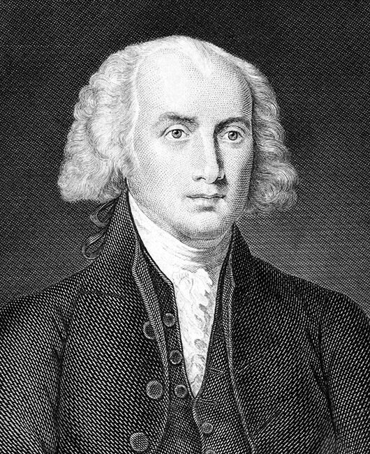 James Madison, the Fourth President, with long hair.