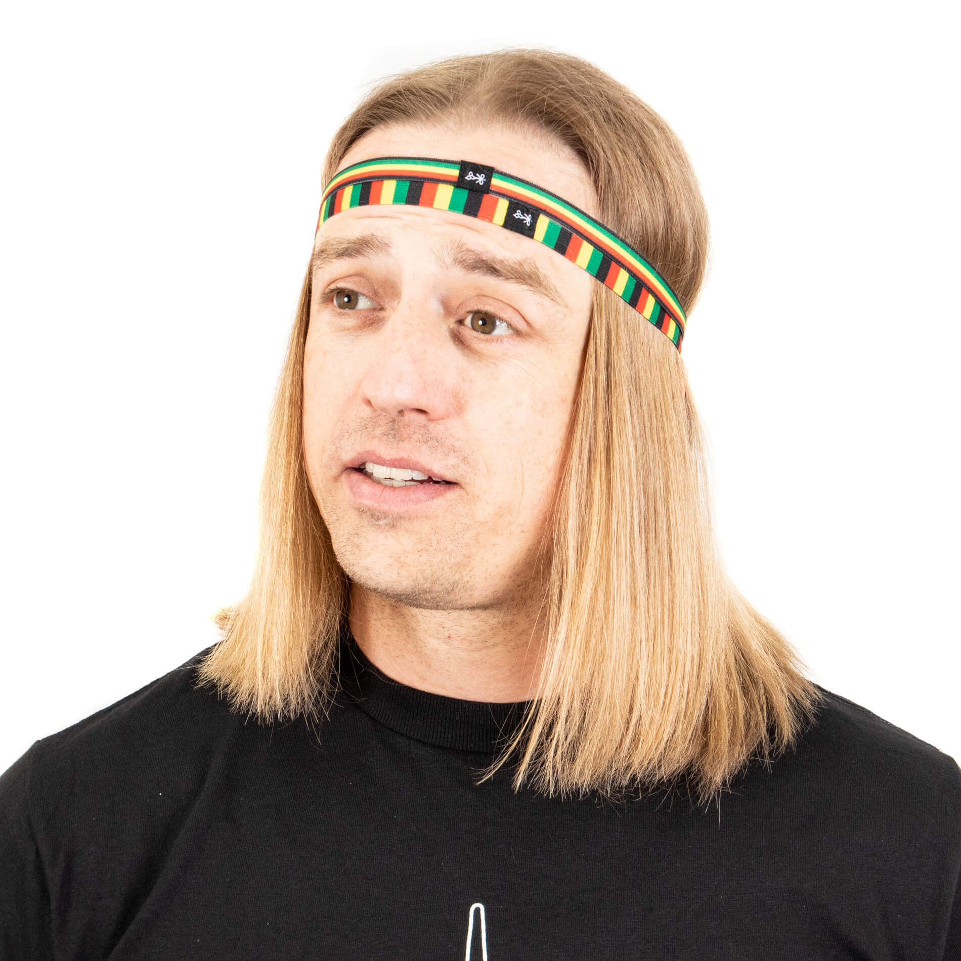 Dual reggie style thin headbands draped of hair and long hair draped over ears.