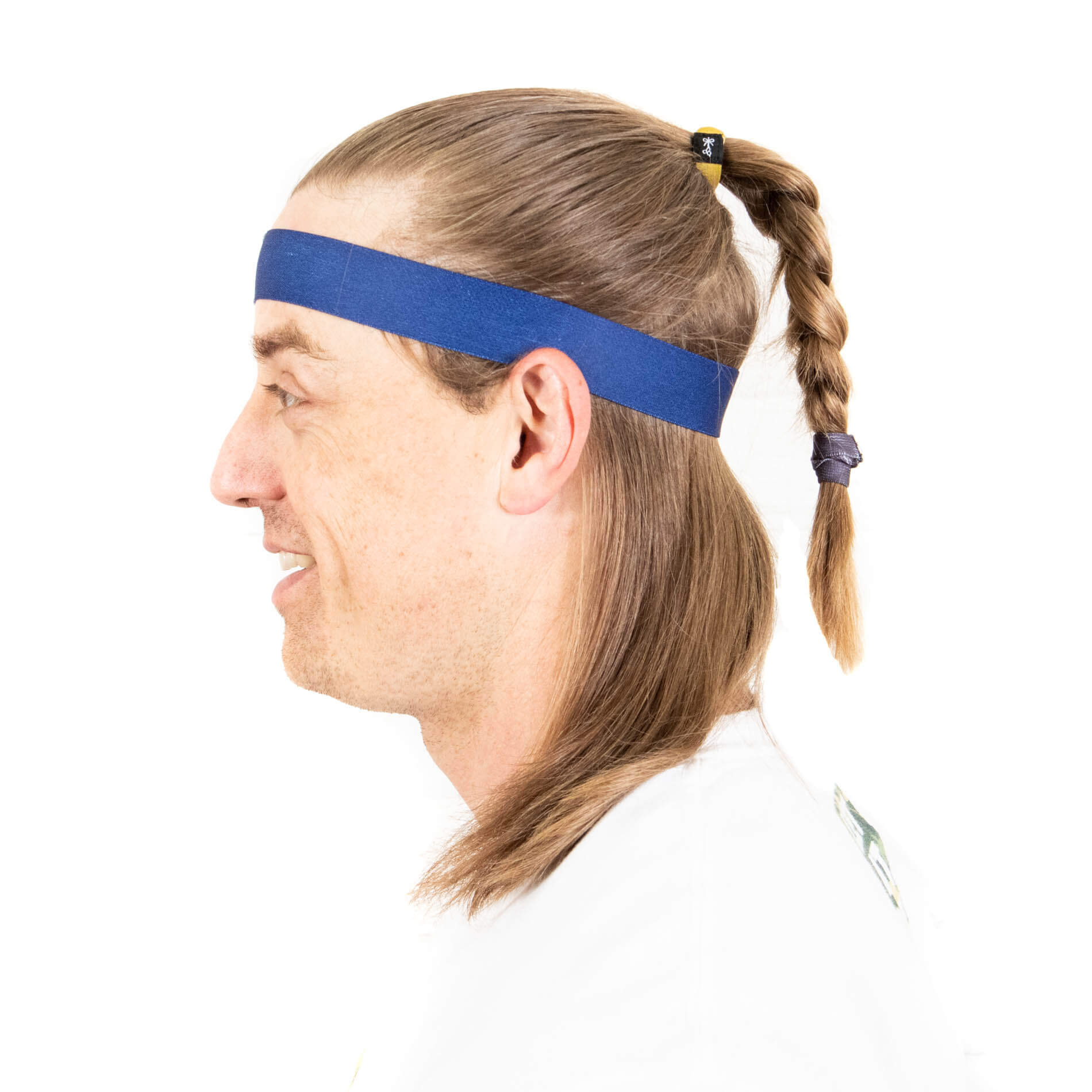 Thick headband with braid and hair ties for guys.