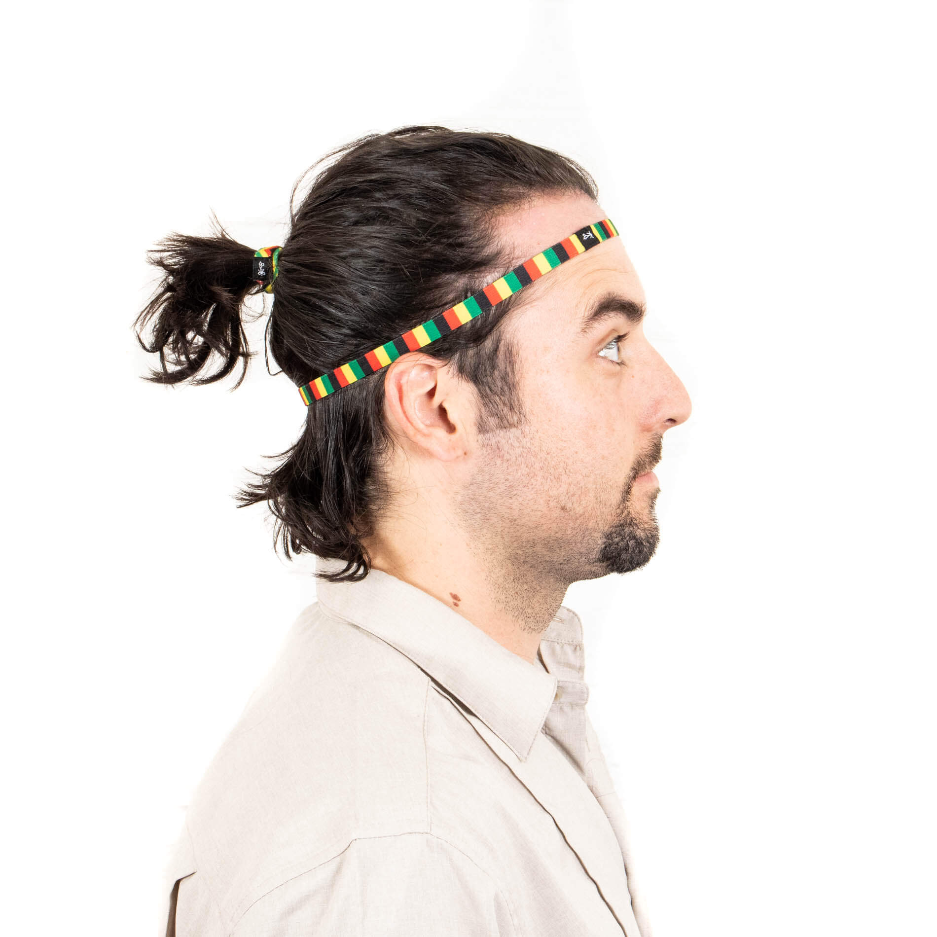 "Long Haired Man with ""The One Loves"" Rasta Design Thin Headbands"