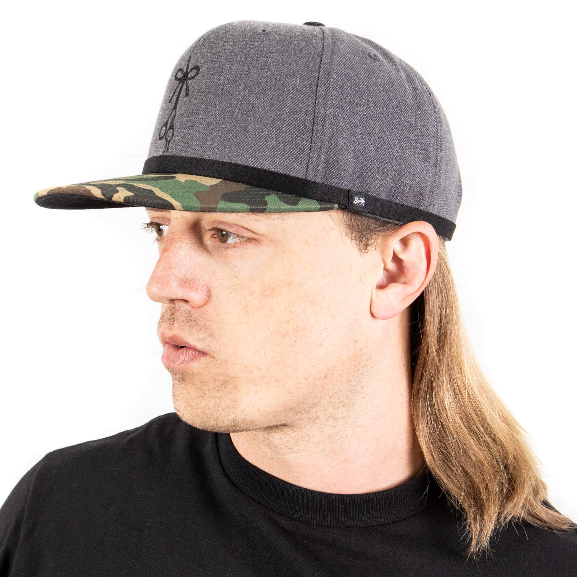 """The Formal Affairs"" Thin Black Headband and ""The Woodland"" Camouflage Snapback Ball Cap"