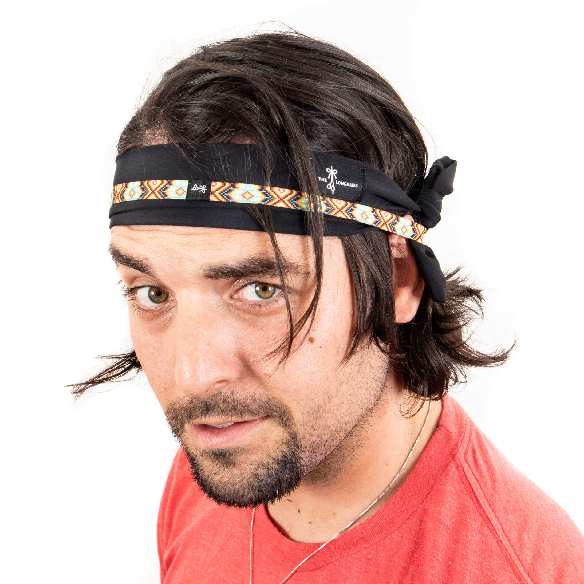 Tie-back head band with thin headband. Perfect for short or long hair.