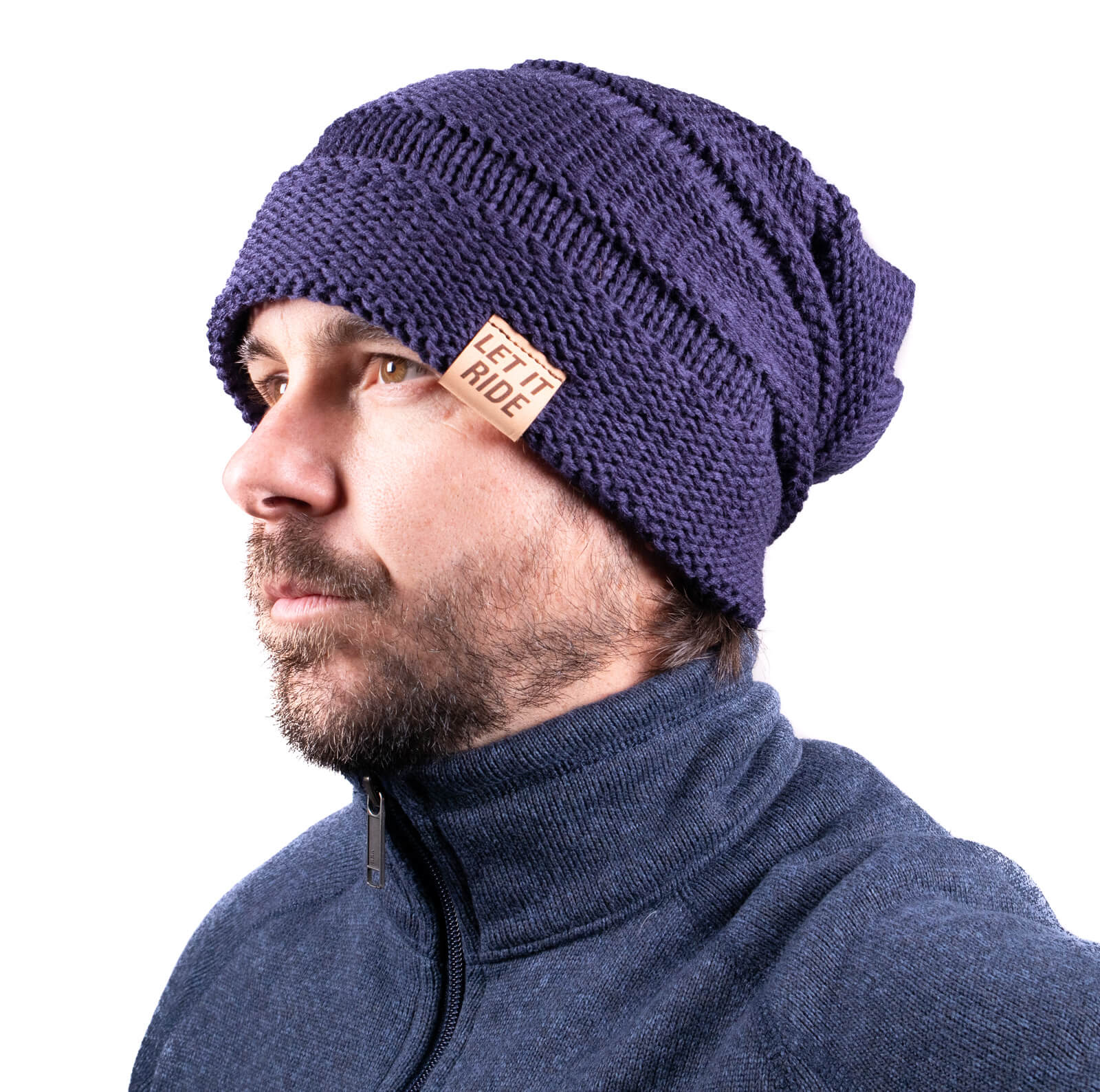 A beanie style for guys with long hair.
