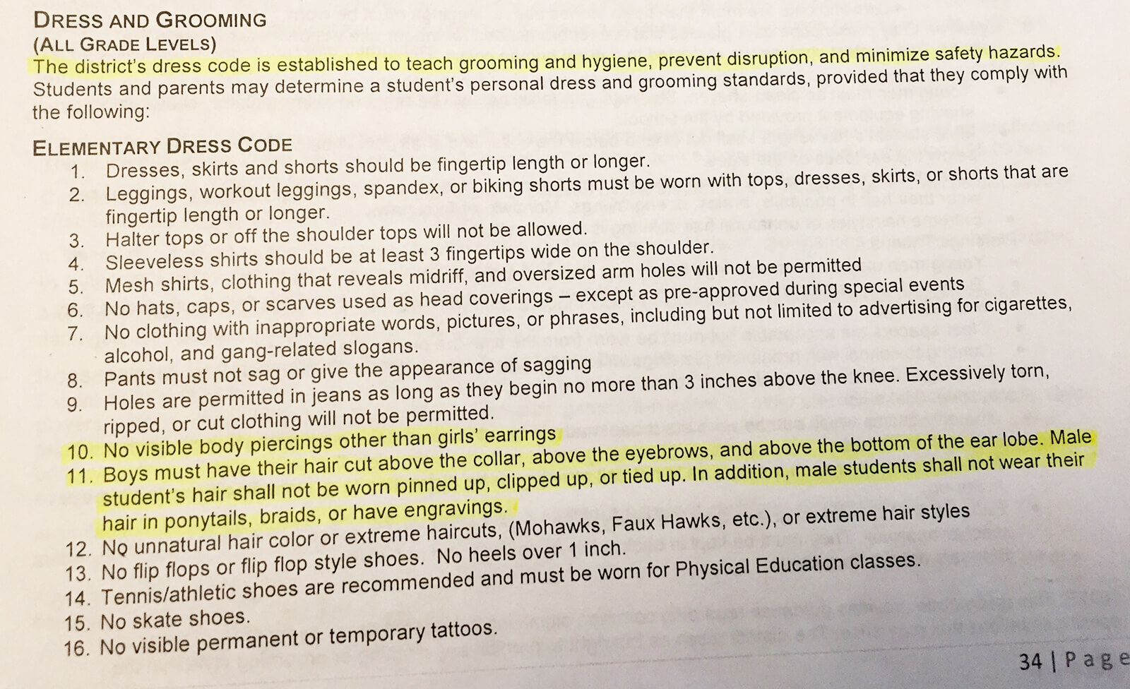 Elementary School Dress Code Grooming Policy