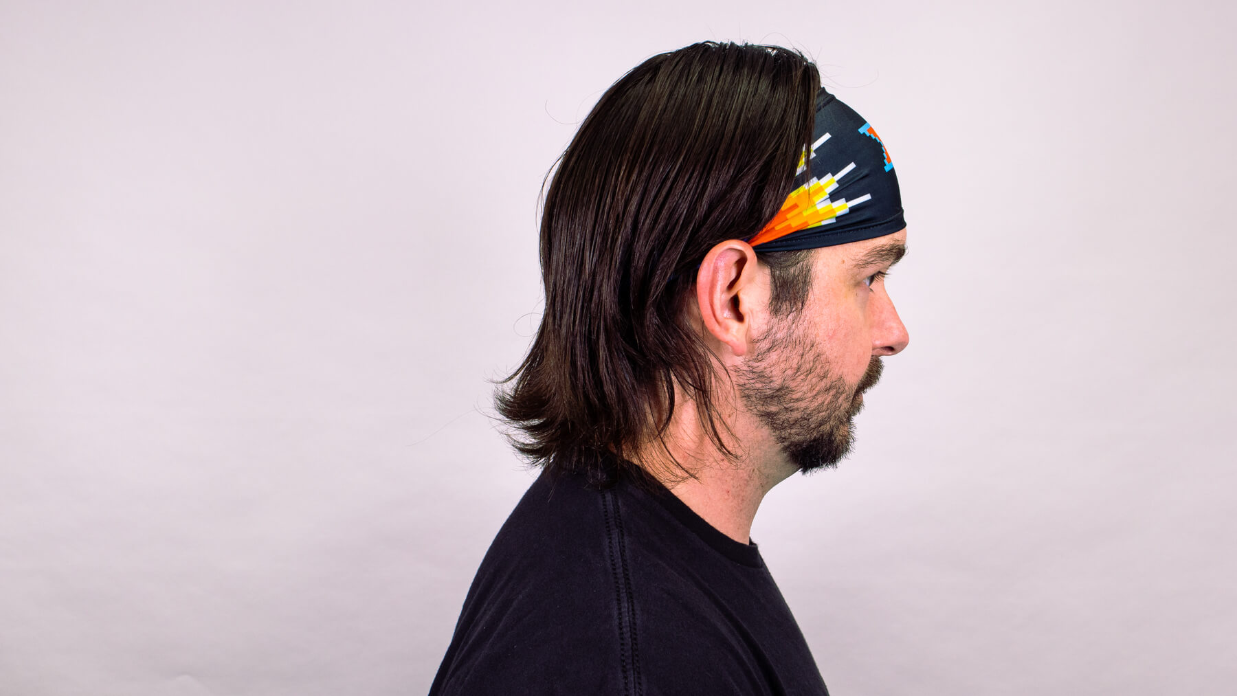 Headwrap with awkward stage hairstyle side profile view