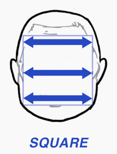 Diagram of square face shape