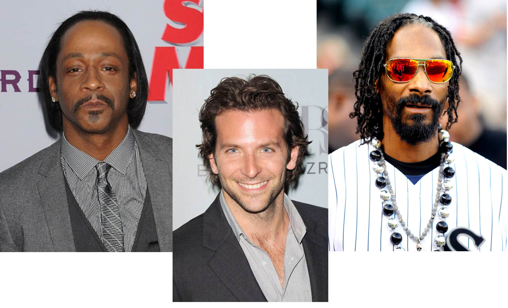 Celebs with long hair mature and receding hairline. Bradley cooper, snoop dog, kat williams