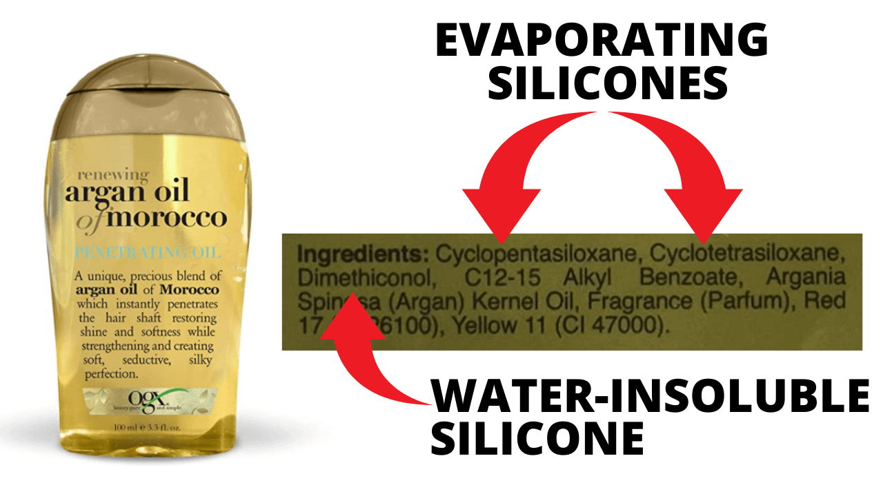 Silicone ingredients in argan oil hair serum.