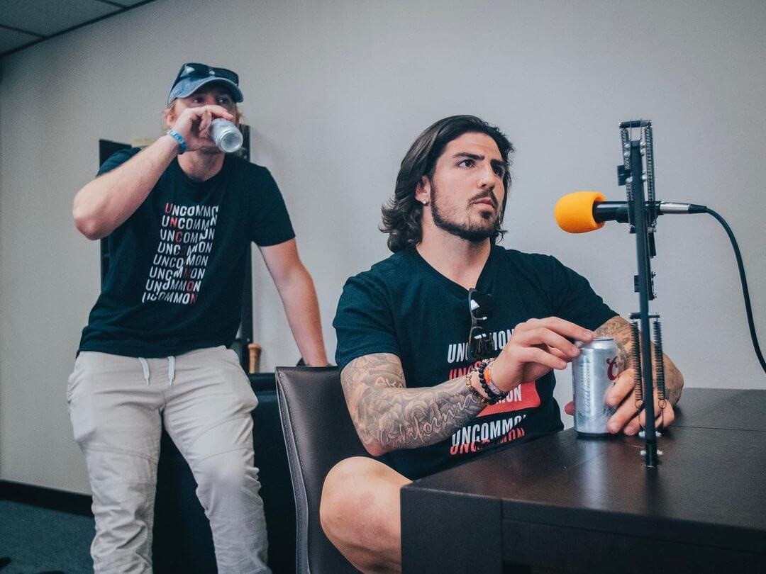 Kaleb Fossum during the podcast at The Longhairs HQ